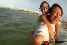 Navegando con Kite con su papa